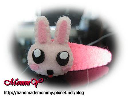不織布-造型安全髮夾-兔子1=手作MommY.JPG