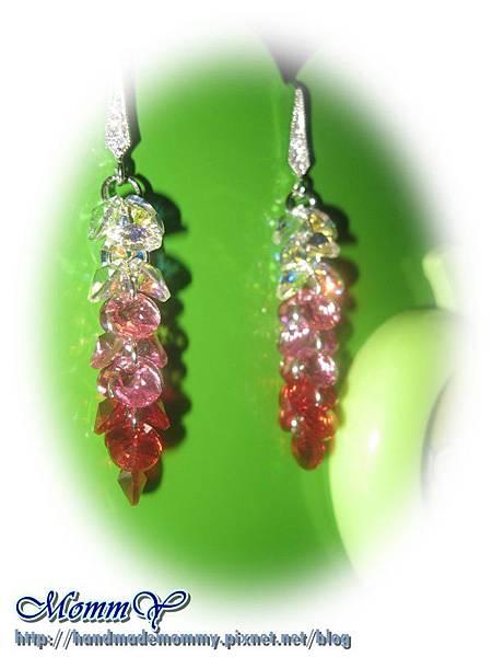 漸層耳勾扁圓水晶款(白彩、粉、紅)