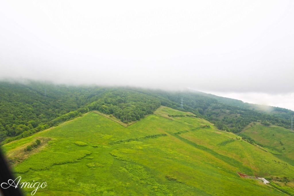 日本北海道 留壽都 直昇機眺望洞爺湖 朝和火山