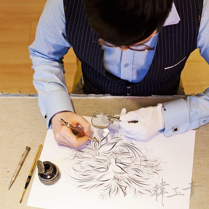 韓玉青老師鋼筆藝術繪畫教學作品風格