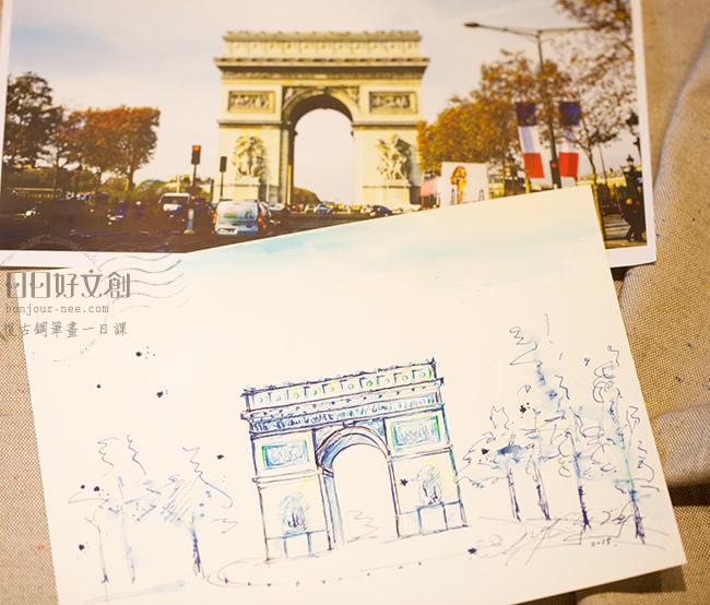 韓玉青老師鋼筆建築風景速寫作品教學