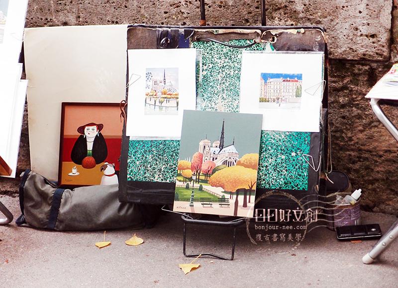 巴黎塞納河_藝術家_巴黎街景_巴黎插畫_日日好文創_巴黎速寫_巴黎建築速寫