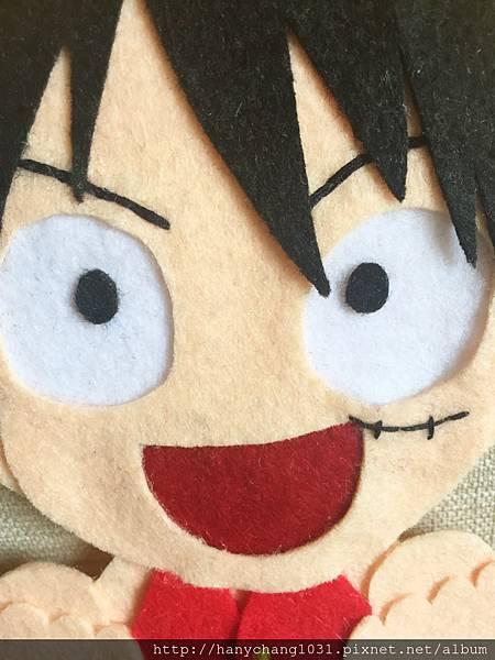[不織布手作物]--魯夫的眉毛和刀疤都是用縫的