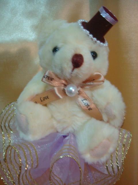 [小熊花束]--華麗禮帽+珍珠