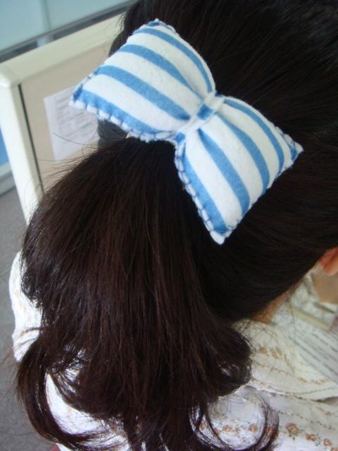 [不織布蝴蝶結髮飾]--藍白海軍風!!