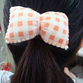 [不織布蝴蝶結髮飾]--日系可愛橘格風!!