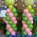 可愛微笑花氣球柱