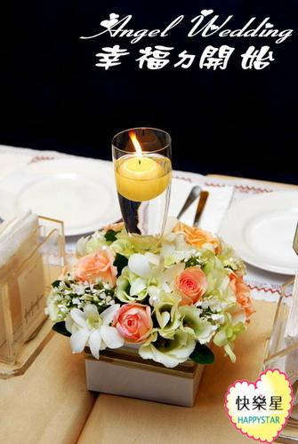 燭光暖春宴會桌花