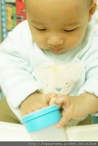 東尼吃手指餅乾 裝在矽膠儲存杯 (1)