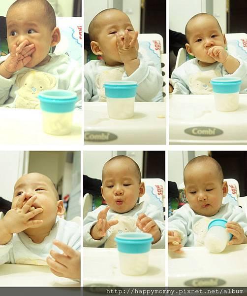 東尼吃手指餅乾 裝在矽膠儲存杯 (2)