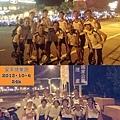2013_10_05風超大,無盡頭沒路燈,很可怕(-_-) 還好這群穿白衣的快樂跑伙伴,一路相伴!比賽將近的家加油^_^.jpg