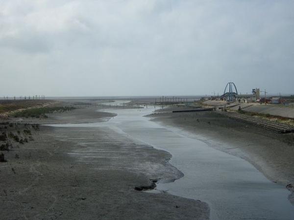 生態景觀橋上往海邊望去