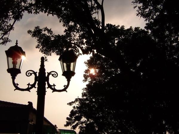 陽光下的路燈