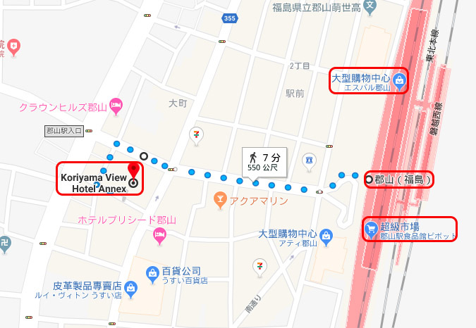 郡山景觀飯店分館Koriyama View Hotel Annex map.jpg