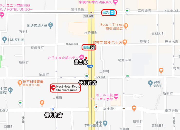 Nest Hotel Kyoto京都四條鳥丸內斯特飯店map.jpg