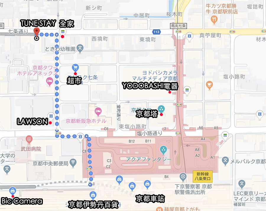 京都住宿推薦TUNE STAY KYOTO map.jpg