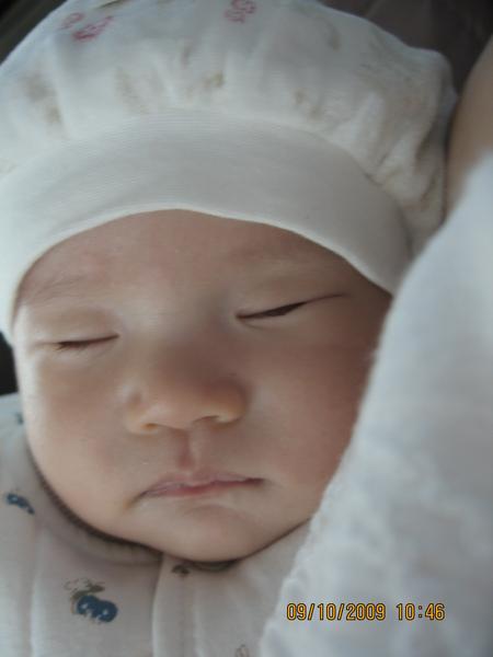 2009-10-09  在車上睡覺的小沛沛之磨菇照2.JPG