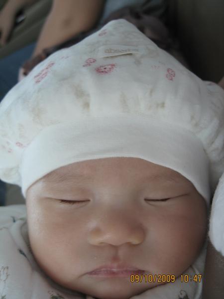 2009-10-09  在車上睡覺的小沛沛之磨菇照5.JPG