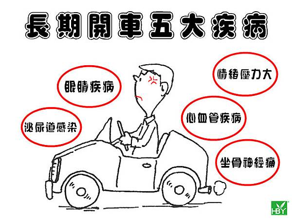 長期開車五大疾病風險