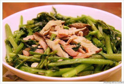 香菇肉絲炒空心菜