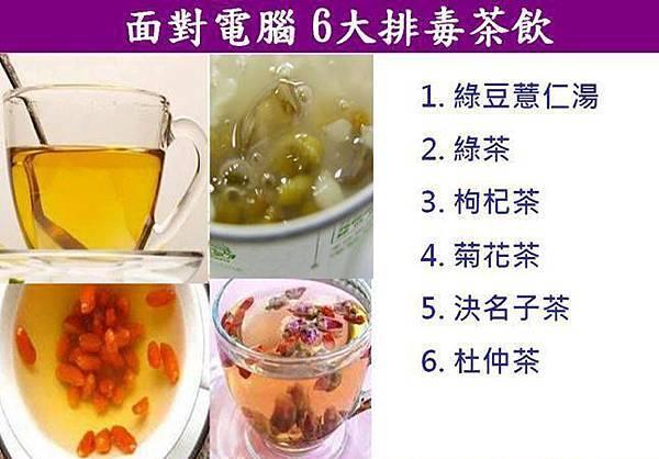 健康養生:6大排毒茶飲