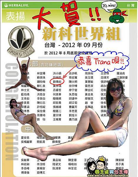 Tiana表揚世界組