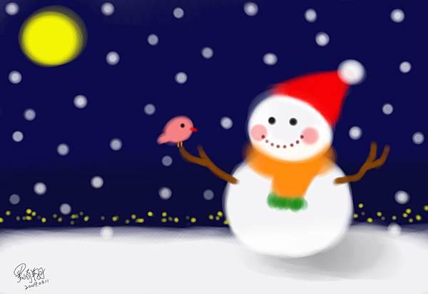 電繪插畫-雪夜中的朋友