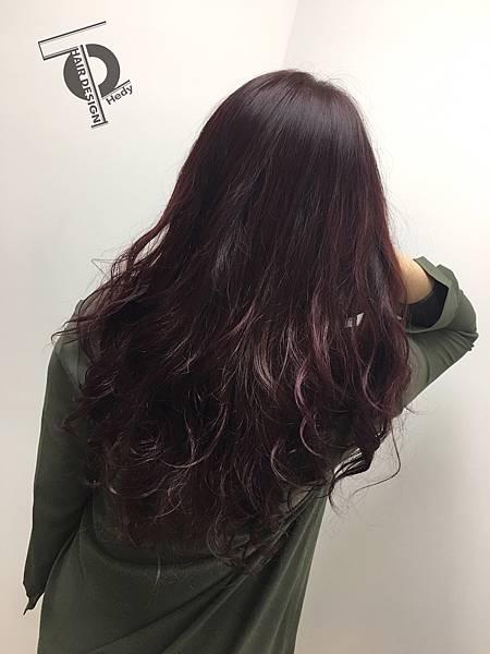 日系手撥燙+紫紅微漸層染