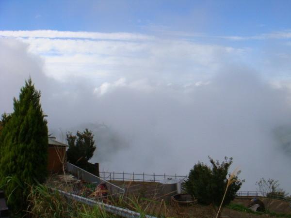 站在高處步道伸手向外摸  就是白雲