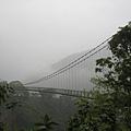 雲霧瀰漫的東埔吊橋