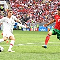 2018年世界盃小組賽第二輪葡萄牙1:0摩洛哥:摩洛哥(右)兩場比賽的場面均占據優勢壓著對方打,但運氣實在背,二連敗成為本屆世界盃最早出局的球隊。