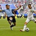 2018年世界盃小組賽第三輪烏拉圭3:0俄羅斯:俄羅斯的切里謝夫(Denis Cheryshev,右)。