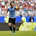 2018年世界盃小組賽第三輪烏拉圭3:0俄羅斯:烏拉圭隊長高汀(Diego Godin)。