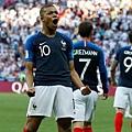 2018年世界盃16強淘汰賽法國4:3阿根廷:法國隊新星姆巴佩(Kylian Mbappe)