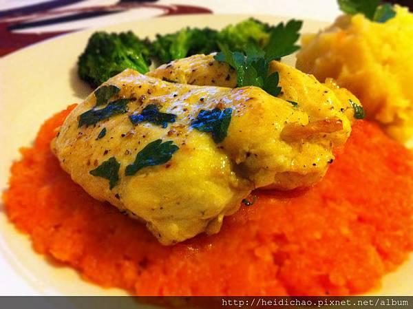 blancs de poulet a la puree de carotte