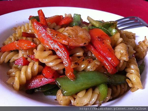 ❤ 清炒甜椒蝦子義大利麵