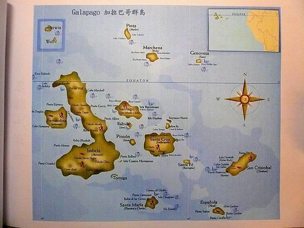 加拉巴哥群島 重要島嶼圖