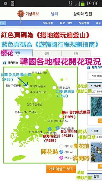 韓國氣象廳櫻花開花現況