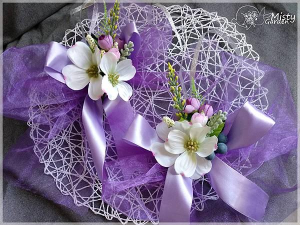 浪漫紫白色結婚花車車花
