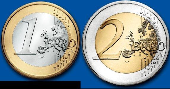歐元1元和2元
