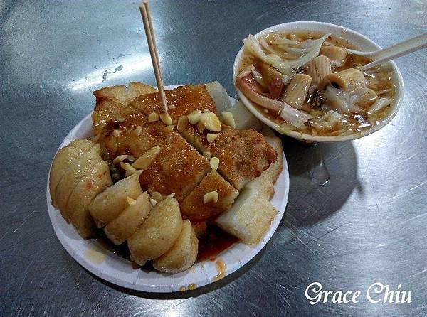 板橋黃石市場 生炒魷魚 炸蘿蔔糕 炸糯米腸 炸芋粿Q