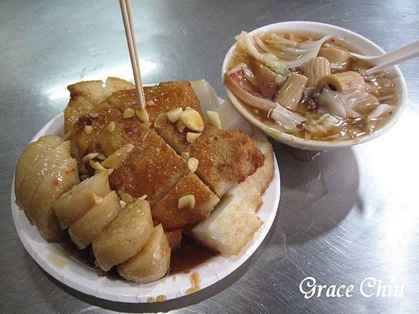 生炒魷魚 炸蘿蔔糕 炸糯米腸 炸芋粿Q 黃石市場