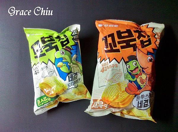 烏龜餅乾 오리온 꼬북칩 새우맛 韓國零食推薦