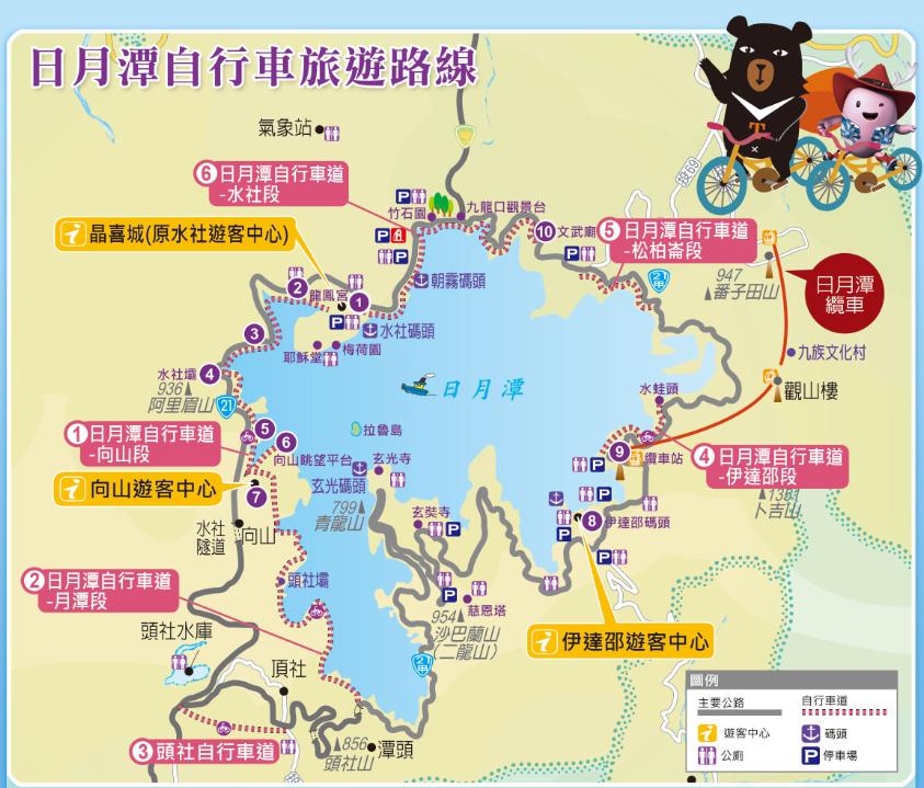 日月潭自行車旅遊路線
