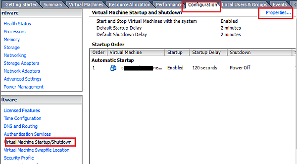 vmware Automatic Startup