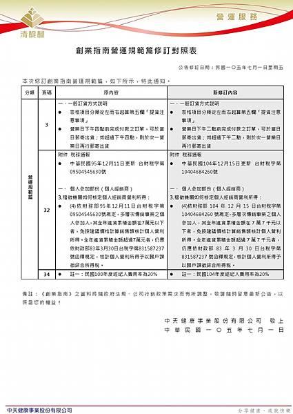 創業指南營運規範篇修訂對照表