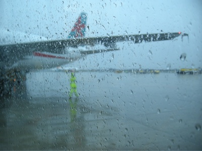 raining airport