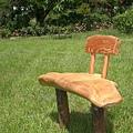 造型單人檜木椅