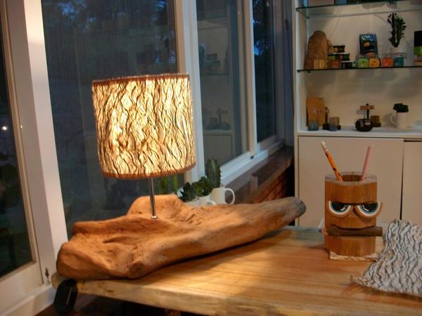 桌上型─造型樹皮燈<短燈罩>(新作品)