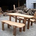 造型餐桌(一桌兩長椅)